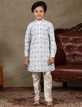 White cotton boys kurta suit special for festive wear