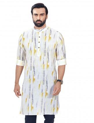 White cotton kurta for men in print style