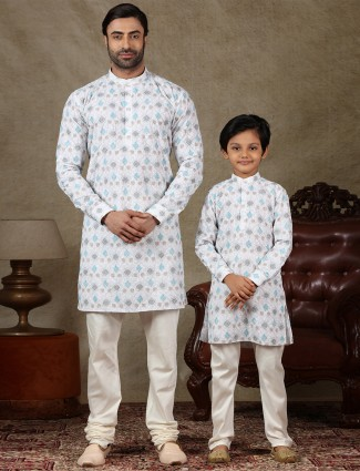 White cotton kurta suit father and son special