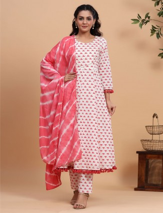 White cotton printed causal wear pant suit