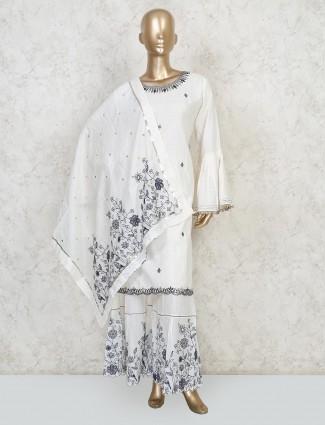 White cotton punjabi sharara suit in cotton