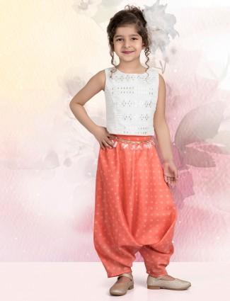 White cotton silk punjabi dhoti suit for girls