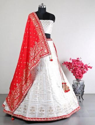 White cotton silk wedding wear unstitched lehenga choli