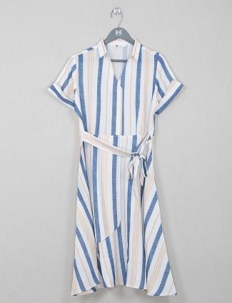 White cotton stripe casual wear kurti