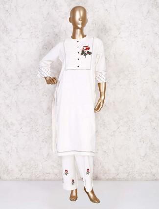 White embroidery cotton palazzo set