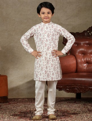 White full sleeve cotton kurta suit for boys