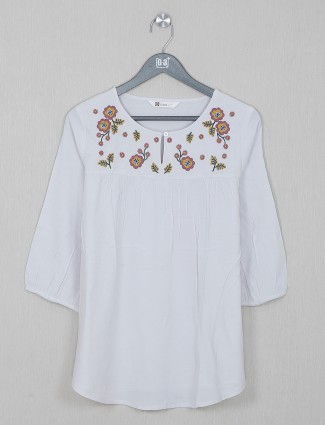 White cotton casual wear top for gorgeous women