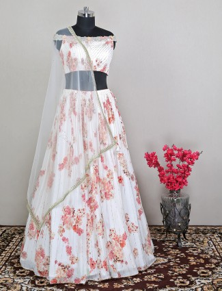 White georgette wedding lehenga with mirror work details