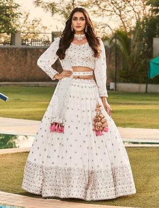 White georgette wedding occasions lehenga choli
