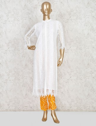 White hakoba casual wear pant set