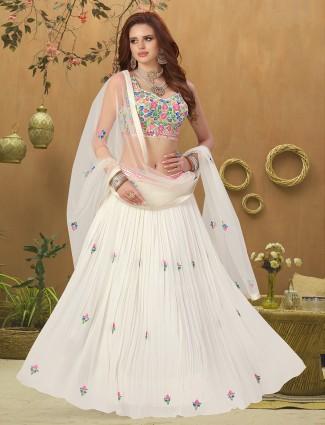 White innovative georgette wedding wear lehenga choli