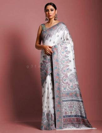 White kashmiri pashmina silk designer saree