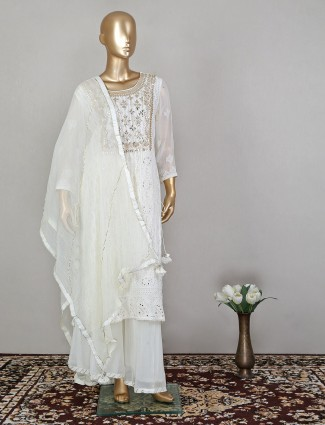 White lucknowi palazzo suit in georgette