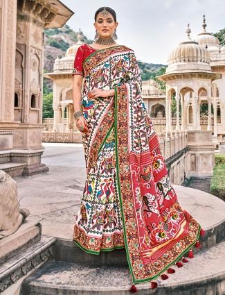 White luxuriant wedding ceremonies patola silk saree
