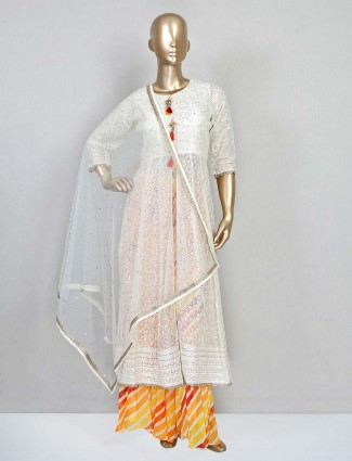 White palazzo suit in georgette for wedding