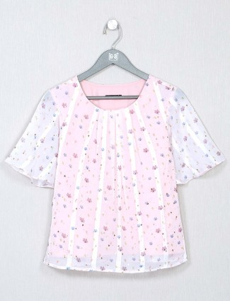 White printed casual top for women