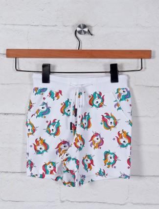 White printed cotton girls shorts