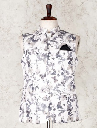 White printed cotton waistcoat for parties