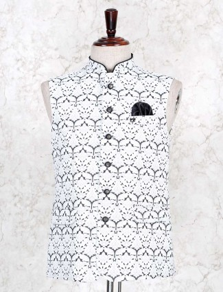 White printed cotton waistcoat party wear