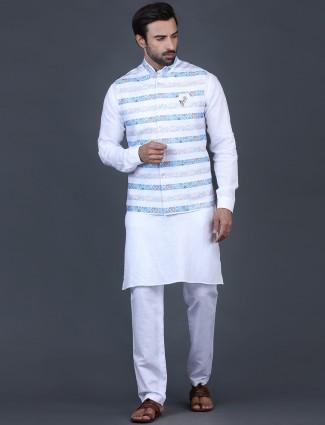 White printed mens waistcoat set in cotton silk