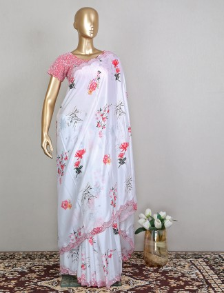 White printed silk fantastic wedding saree with ready made blouse