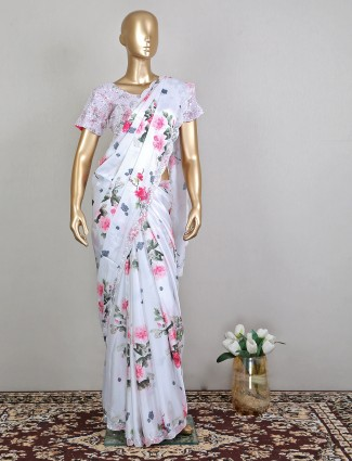White printed silk party event saree with ready made blouse