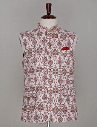White printed waistcoat with pocket tie in cotton