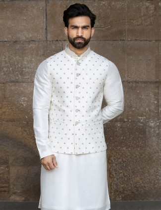White raw silk party function waistcoat set