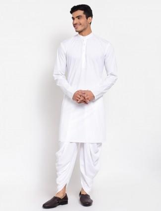 White shade festive wear kurta suit for men