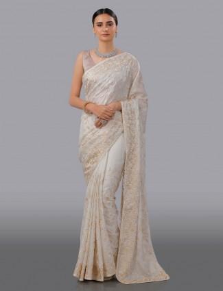White silk embroidared wedding occasion saree
