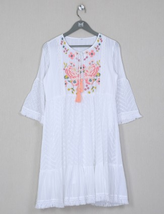 White solid cotton dress for casual wear
