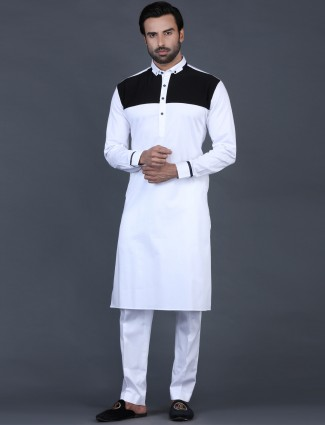 White solid cotton pathani suit