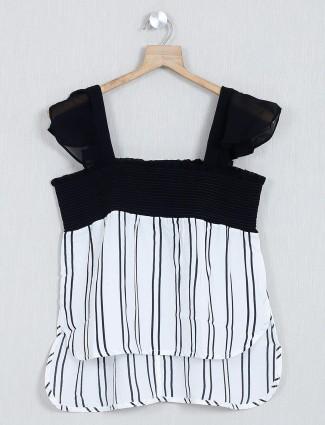 White stripe cotton casual wear top
