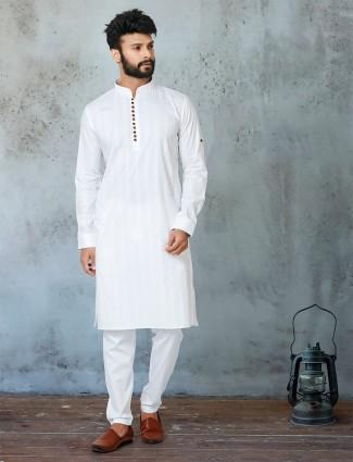 White stripe cotton kurta suit for festive