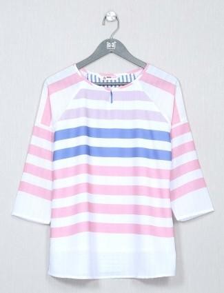 White striped cotton casual top