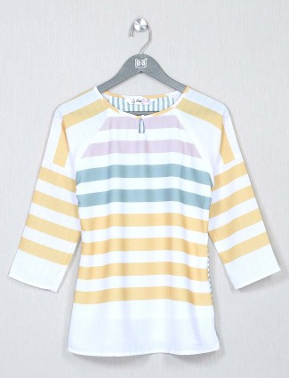 White striped cotton casual top for women