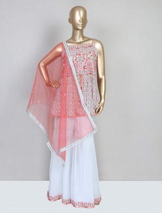 White thread embellished sharara suit