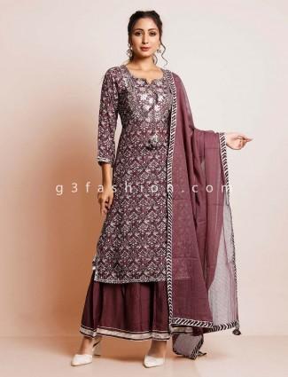 Wine clour cotton suit for women