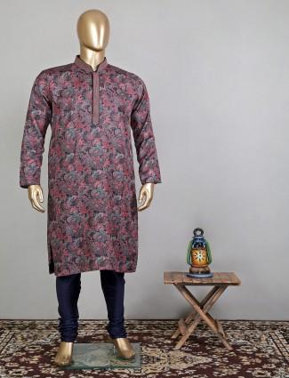 Wine cotton printed kurta suit for festive