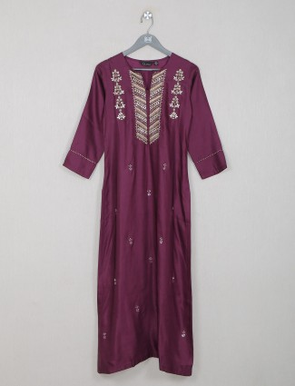 Wine cotton silk casual waer kurti for women