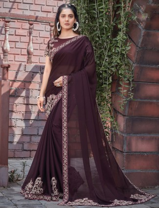 Wine fabulous wedding occasions georgette saree