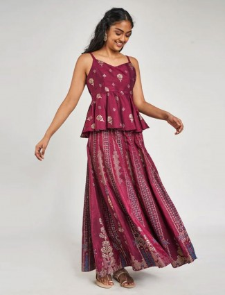 Wine Floral Printed Peplum Suit