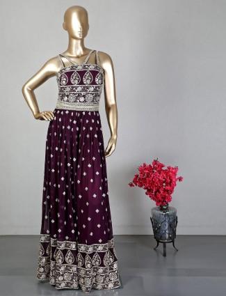 Wine georgette floor-length indowestern suit