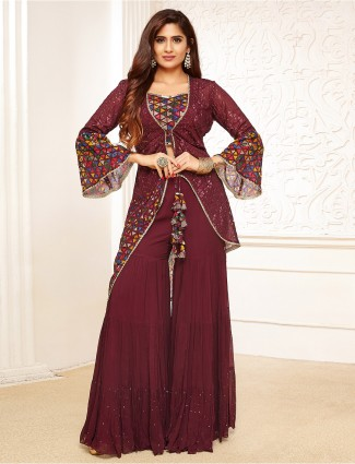 Wine georgette sharara suit for festive