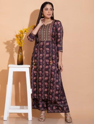 Wine hue cotton silk punjabi style printed palazzo suit