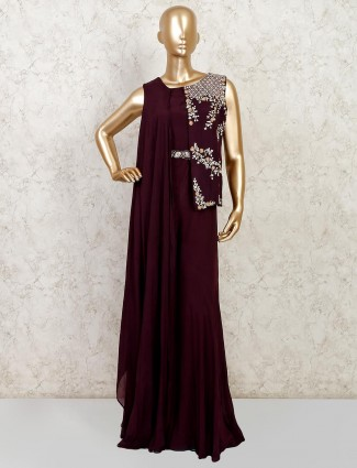 Wine party wear georgette palazzo suit