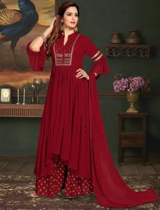Wine punjabi georgette designer palazzo suit