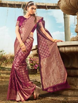 Wine purple banarasi silk wedding events saree
