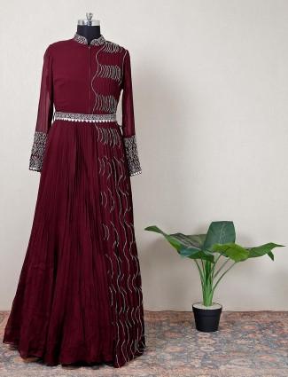 Wine purple party ceremoniesn georgette gown