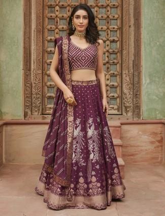 Wine purple silk wedding lehenga choli